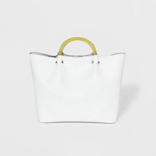 A New Day Tote Handbag With Clear Acrylic Handle