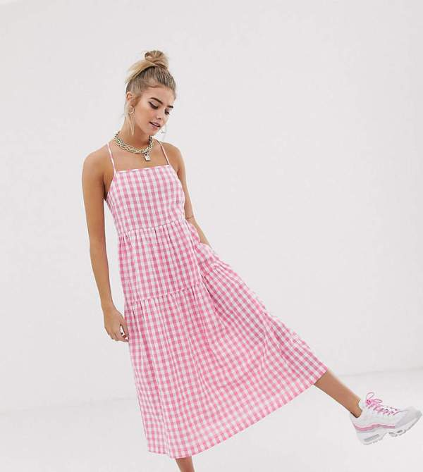 COLLUSION Tiered Cami Smock Midi Dress