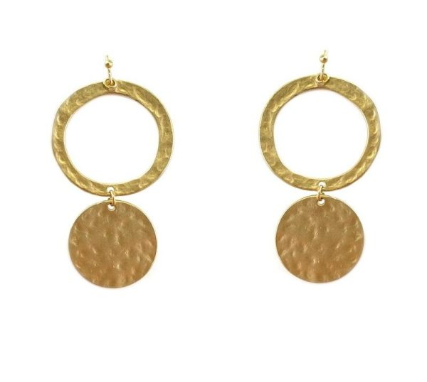 Current Collection Gold Disk Dangle Earrings