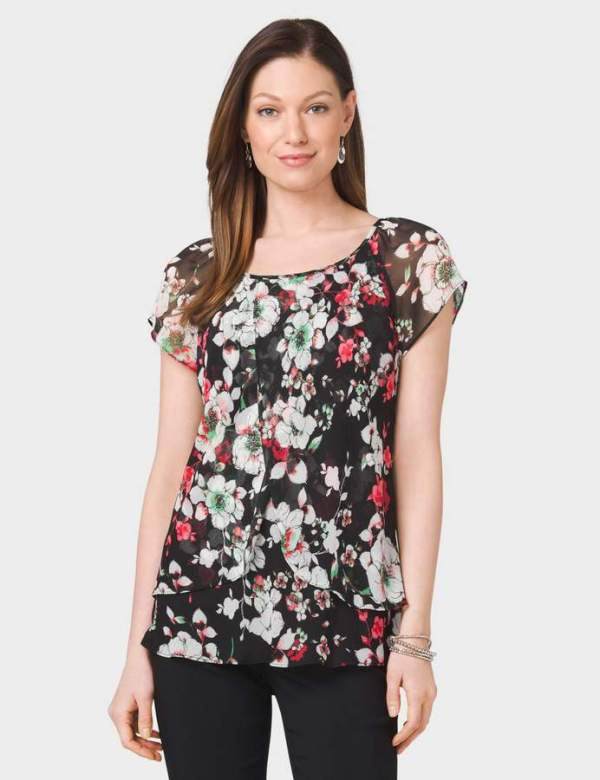 dressbarn Tiered Floral Blouse