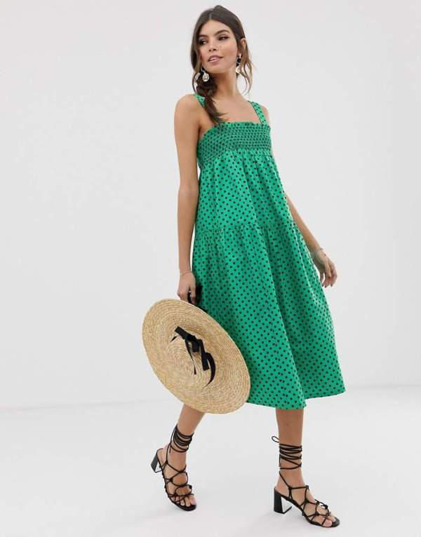 ASOS DESIGN Shirred Trapeze Midi Cotton Sundress