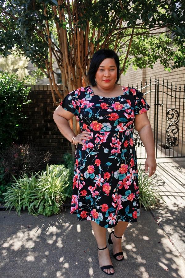 Floral Cold Shoulder Fit and Flare Dress