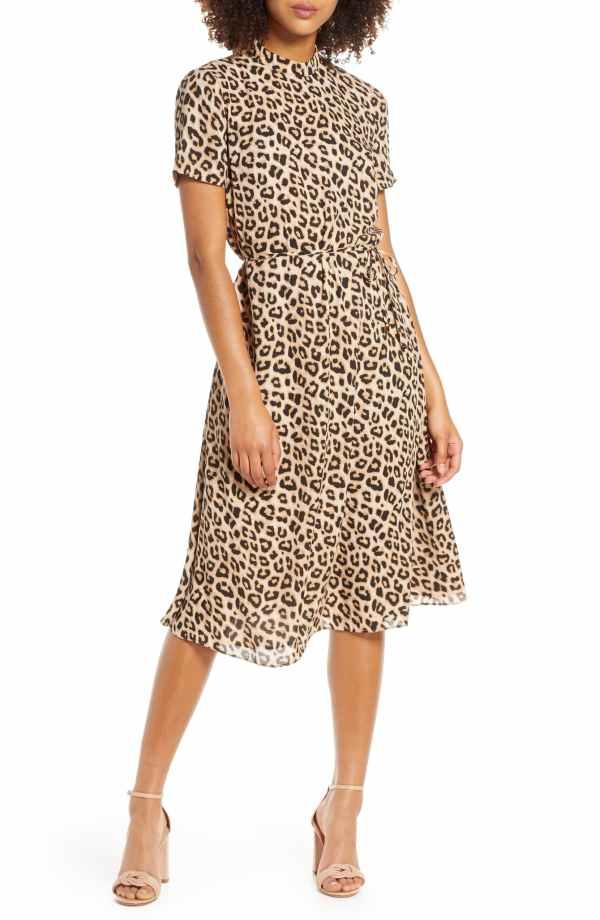 Leopard Mock Neck Short Sleeve Dress