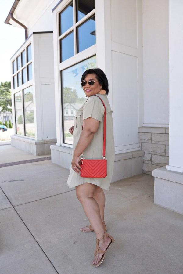 Linen Dress Red Purse