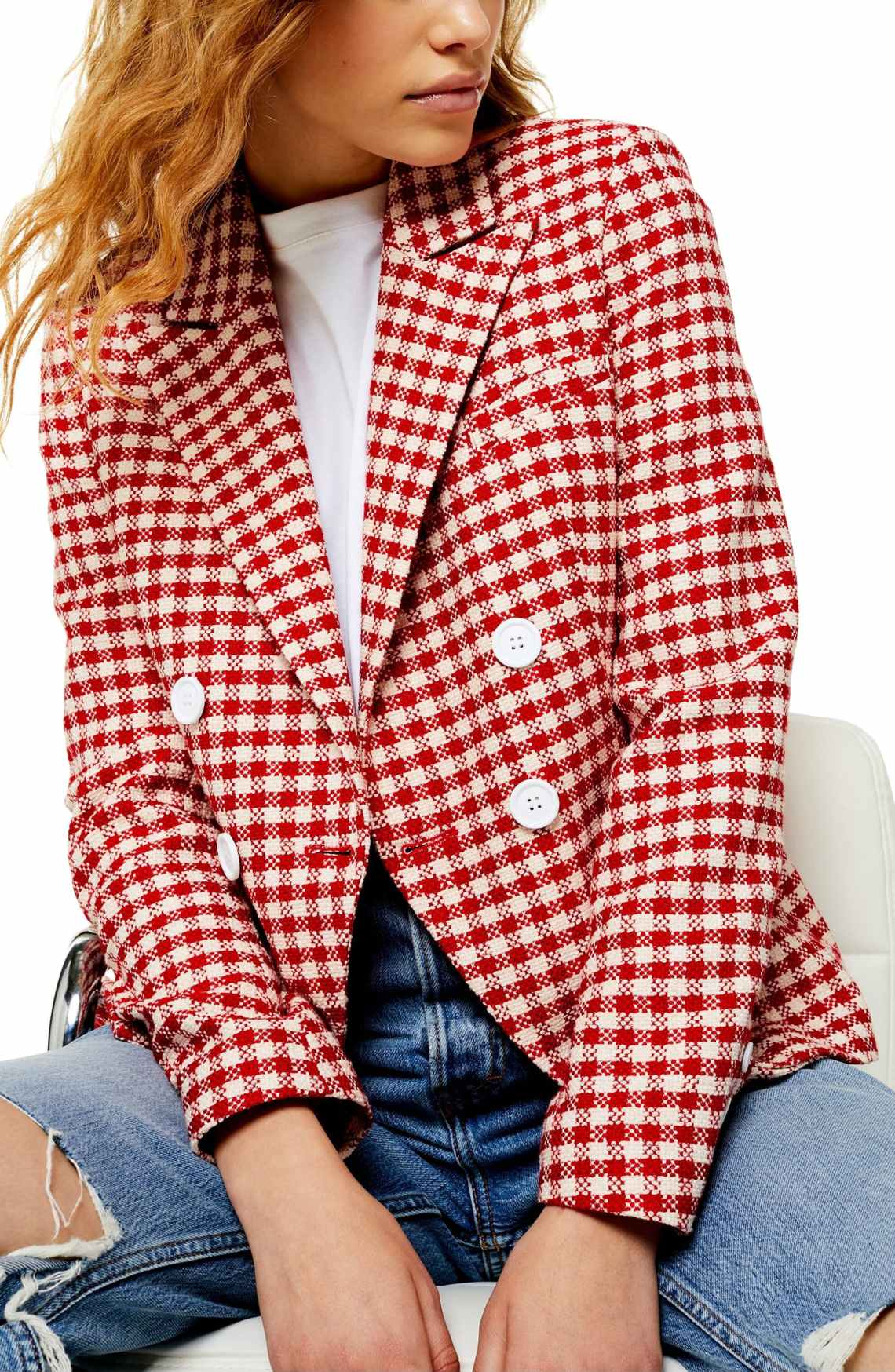 Topshop Check Double Breasted Blazer2