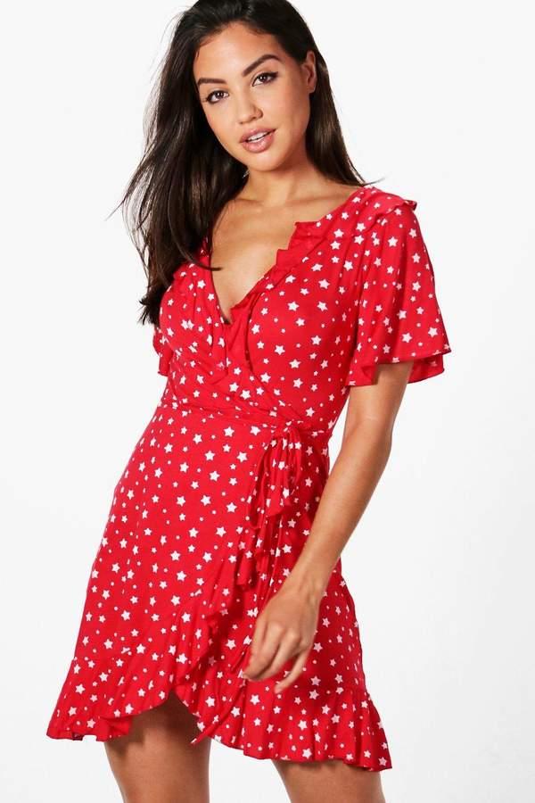 boohoo Star Wrap Tea Dress