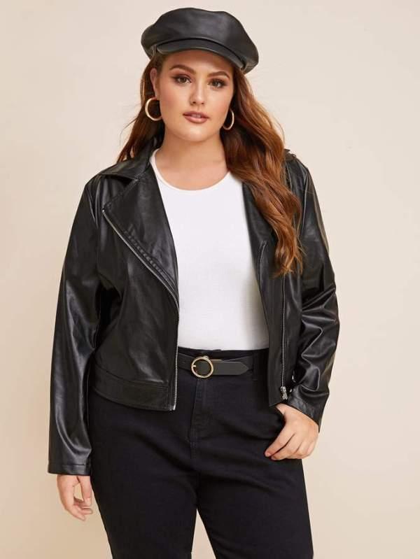 Shein Plus PU Zip Up Moto Jacket