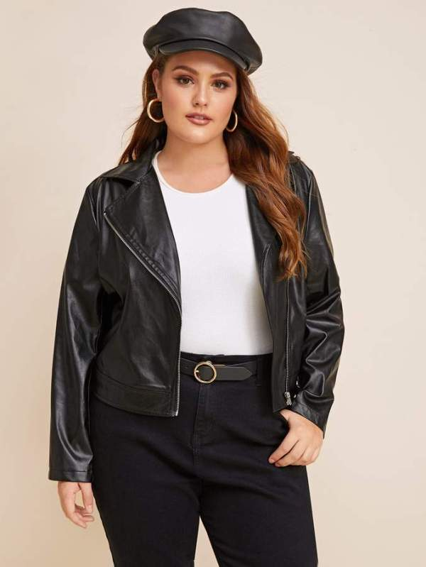 Shein Plus PU Zip Up Moto Jacket