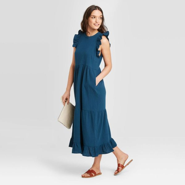 Sleeveless Crewneck Tiered Ruffle Midi Dress