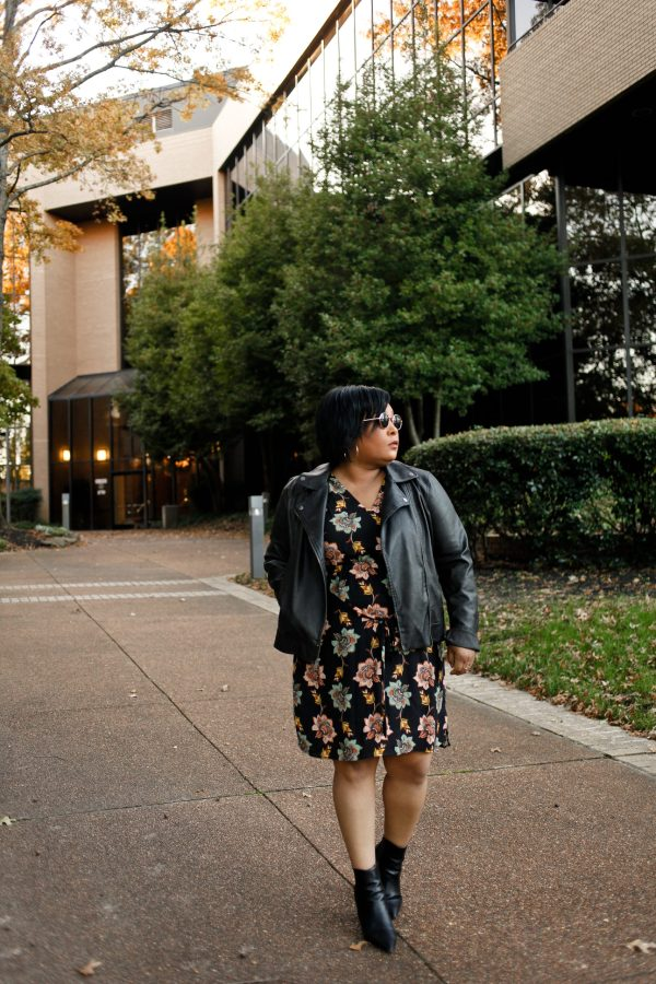 floral dress black moto jacket