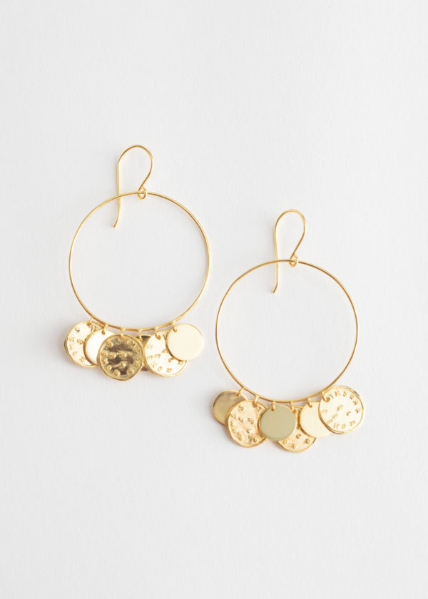 And Other Stories Hammered Coin Hoop Earrings