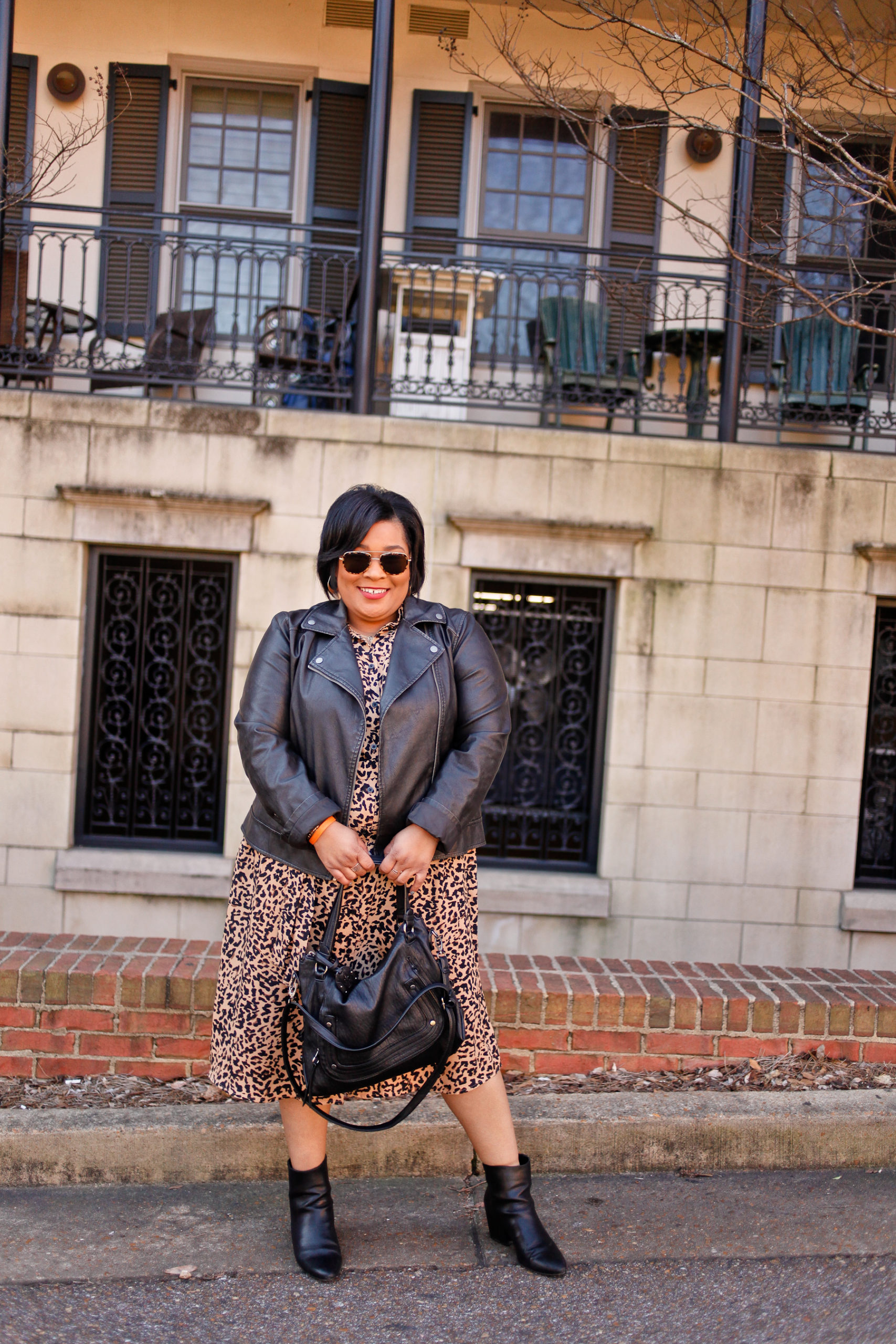 Leopard Print Dress + Leather Moto Jacketr