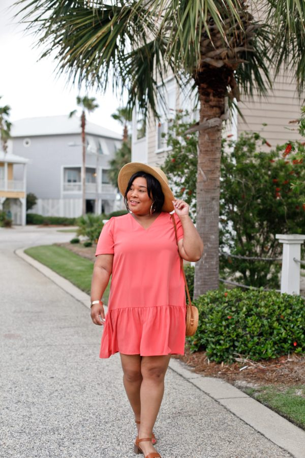 Coral Short Sleeve Ruffle Hem Dress
