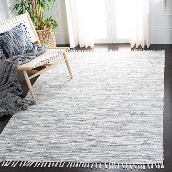 Handmade Flatweave Silver Cotton Area Rug