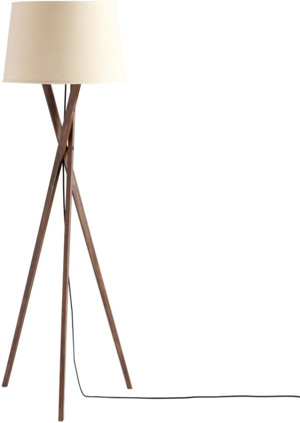 Walnut Wood Tripod Austin Floor Lamp Base