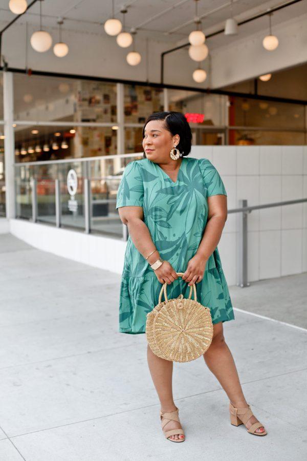 Green Tropical Print Ruffle Hem Dress