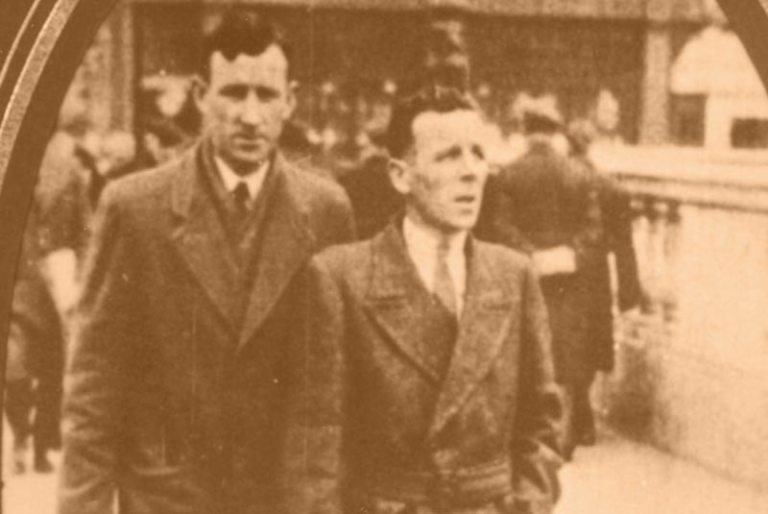 Sylvester and Michael Kelly on O'Connell Bridge in Dublin, on their way to buying their first printing machine in 1949.