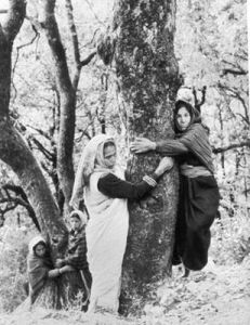 Gaura Devi, a peasant woman from the Garhwal region led a group of women to hug trees for saving them from being felled as part of 'Chipko movement' on March 26, 1974. This non-violent struggle is said to have given birth to the modern Indian environment movement. A form of the movement was first seen in the 18th century.