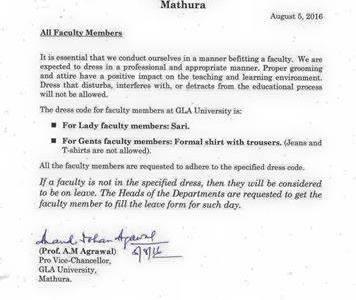 Mathura – GLA University imposes dress...