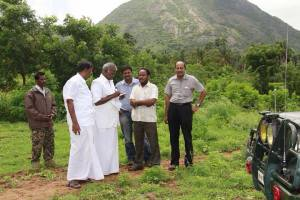 Siva on a visit with Nallakannu ayya highlighting the severe environmental hazards faced by the western ghats in coimbatore region..