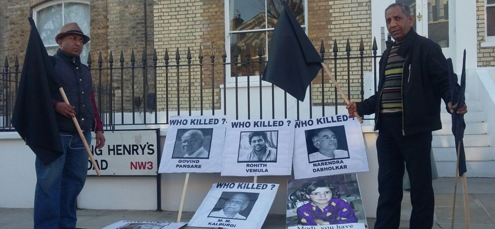 Ambedkarites Raise Black Flag as Narendra Modi Visits London's Ambedkar House