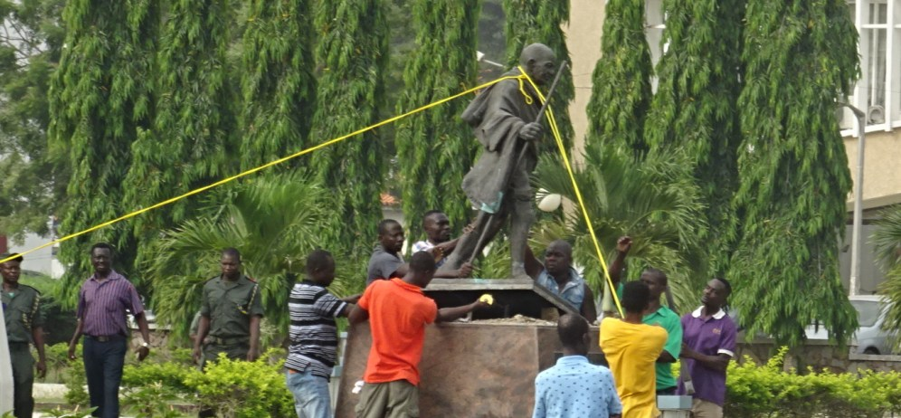 Gandhi Falls in Ghana as University Topples Statue Donated by India