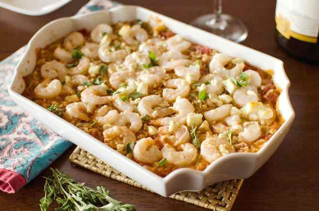 Shrimp & Feta Orzo Bake - Krafted Koch - A one-dish meal with whole wheat orzo pasta, shrimp and feta for a flavorful and healthy dinner idea
