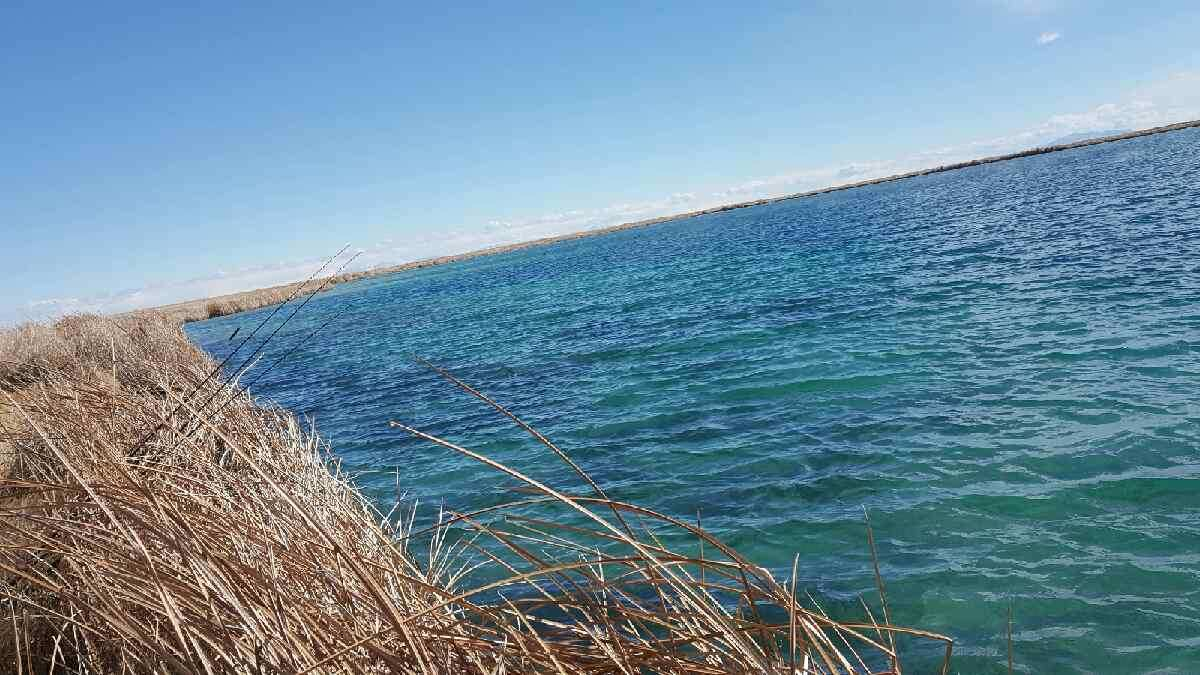 blue lake fishing scenery