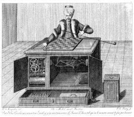 Drawing rendition of the Chess Playing Turk. Photo credit www.wikipedia.org