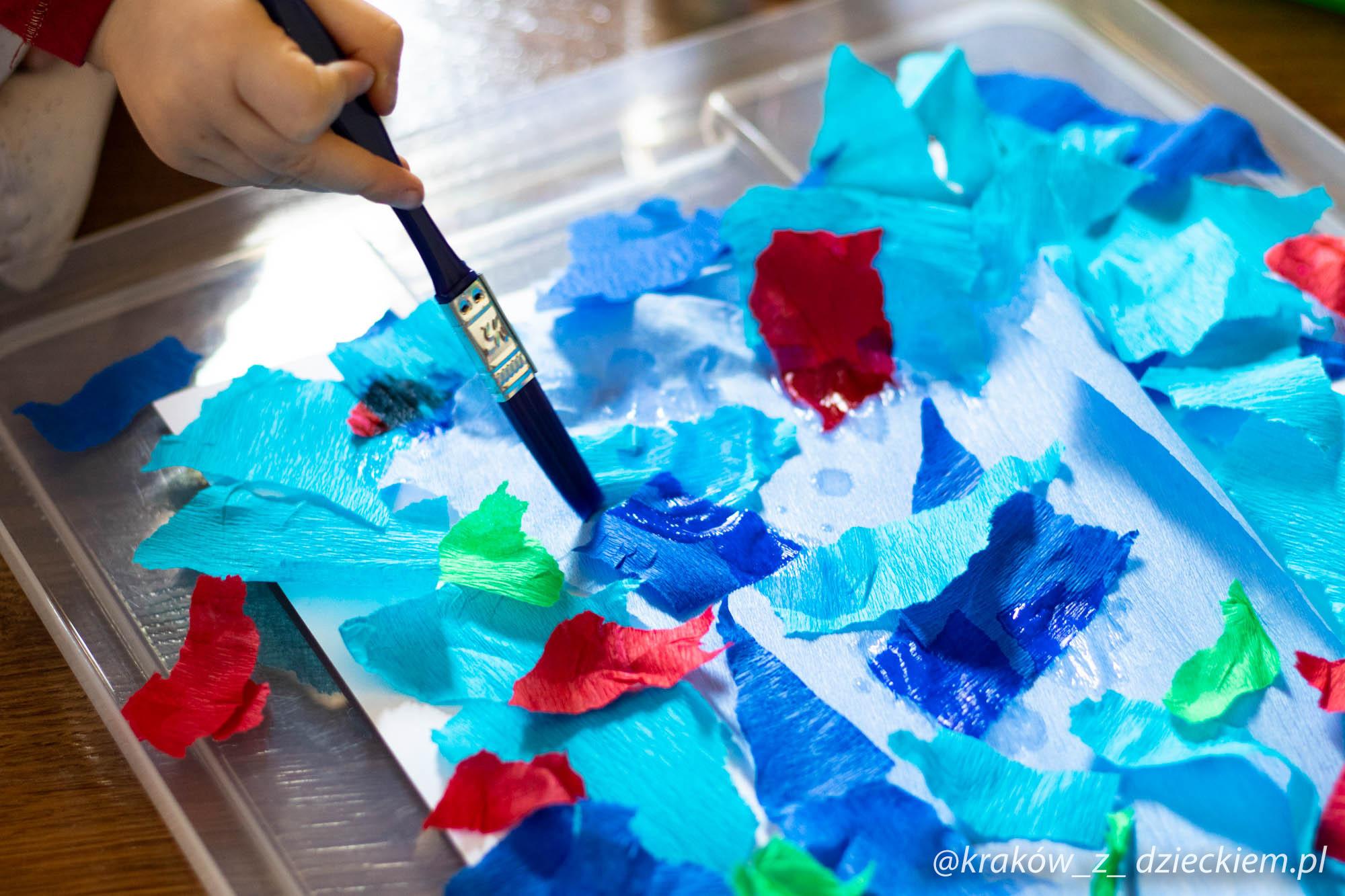 malowanie obrazu bibułą