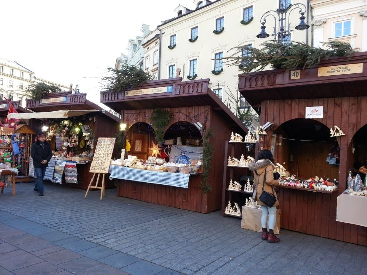 Christmas market at the main square in Krakow