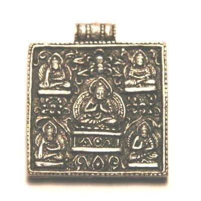 metalen hanger buddhas 1-oog antiek zilver