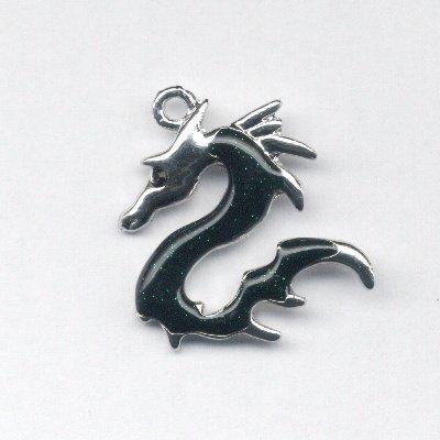 metalen draak zwart met strass 32x29 mm