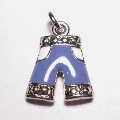 emaille hanger spijkerbroek blauw 12x14 mm