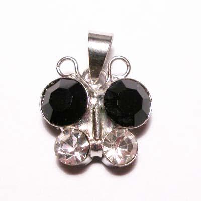 emaille hanger vlinder zwart 15mm
