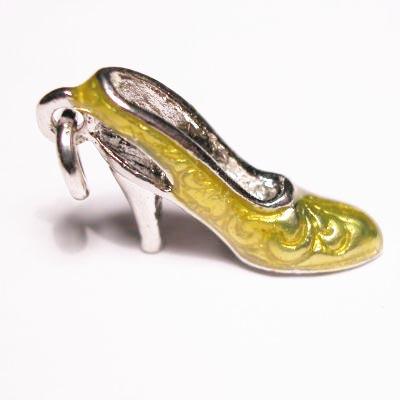 emaille hanger schoentje geel 12x18 mm