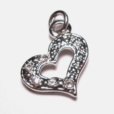 metalen hanger hart met strass 15x19 mm