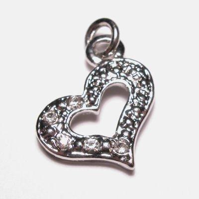 metalen hanger hart met strass 15x19 mm