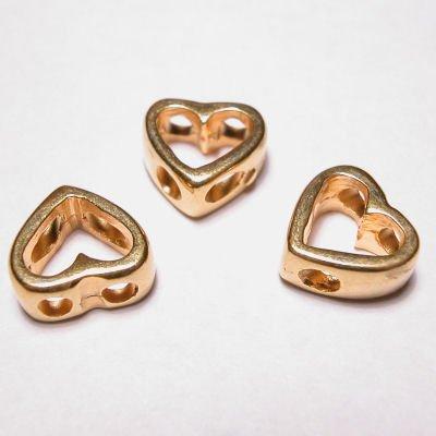kraal 2-oog hart mat goud 10x11 mm
