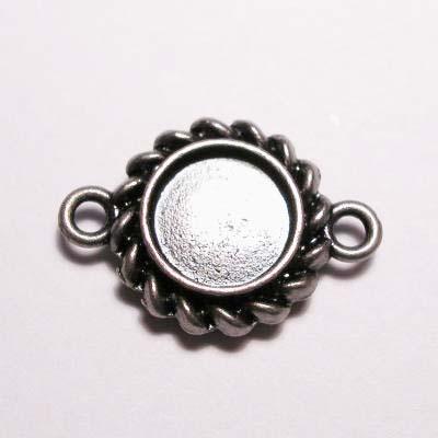 kastje 2-oog oud zilver 7 mm