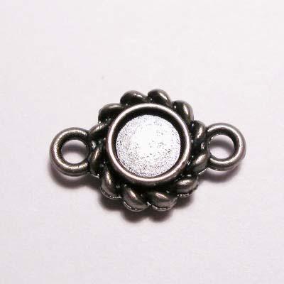 kastje 2-oog oud zilver 4 mm