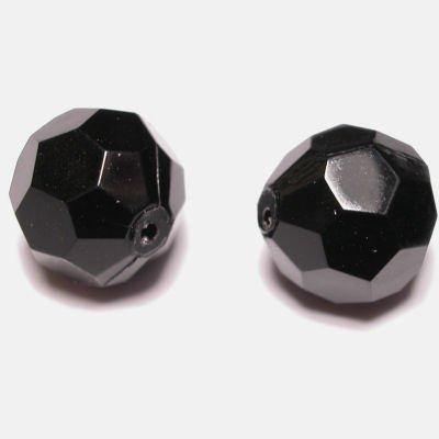 Kraal facet zwart 14 mm