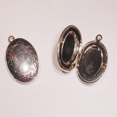 medaillon ovaal antiek zilver 24 x 16 mm