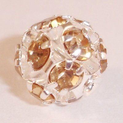 metalen strass bol 10 mm l.colorado topaz