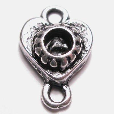hart 2-oog oud zilver 15x9 mm