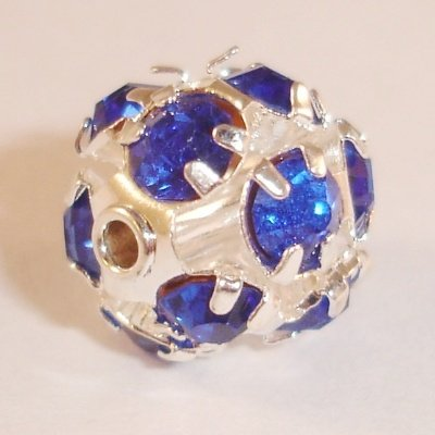 metalen strass bol 8 mm safierblauw