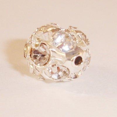 metalen strass bol 10 mm kristal