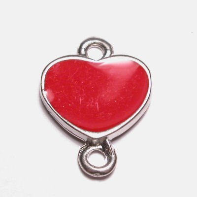 hart 2-oog emaille rood 16x22 mm
