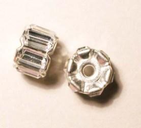 strass rondel zilver 8 mm