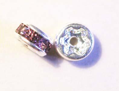 strass rondel zilver lila roze 5 mm